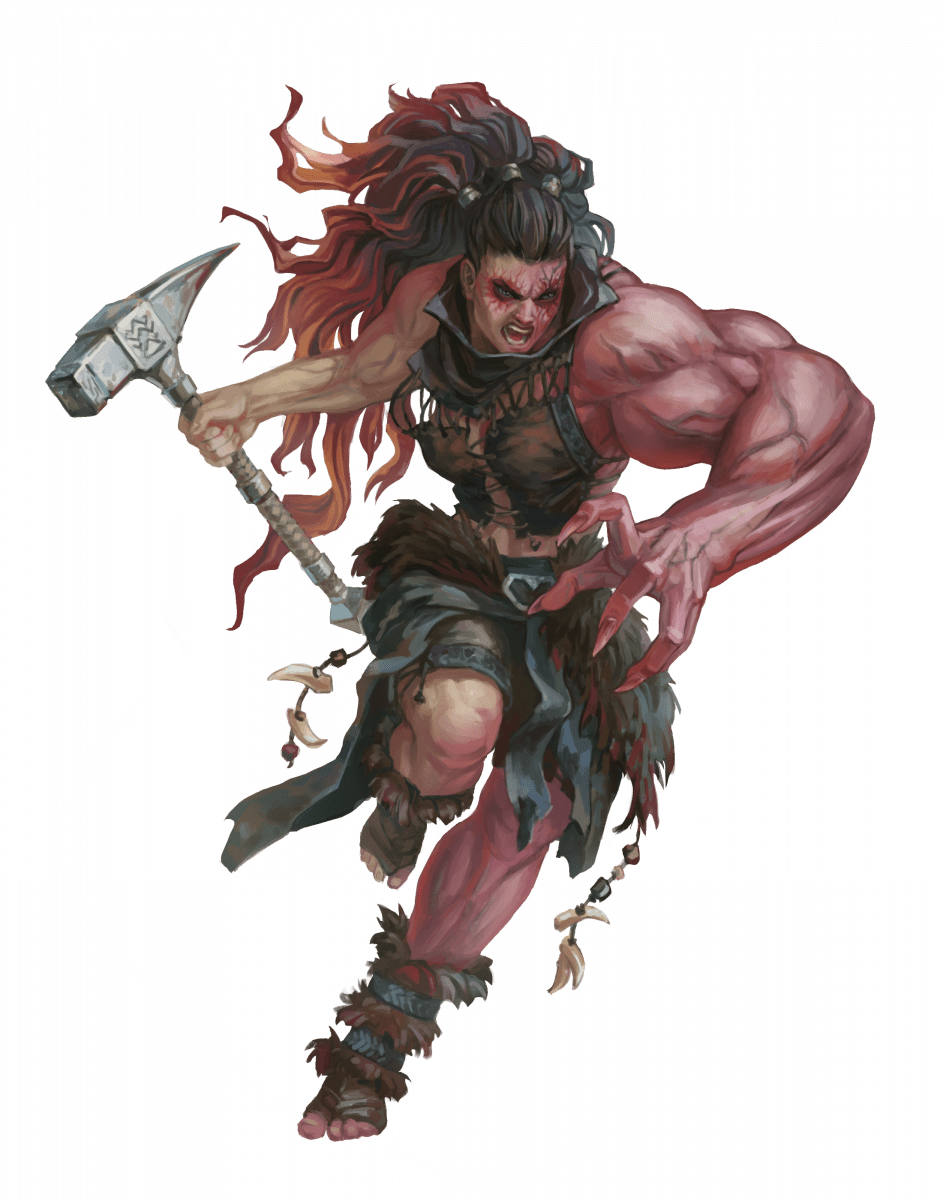 A Barbarian with a clawed hand