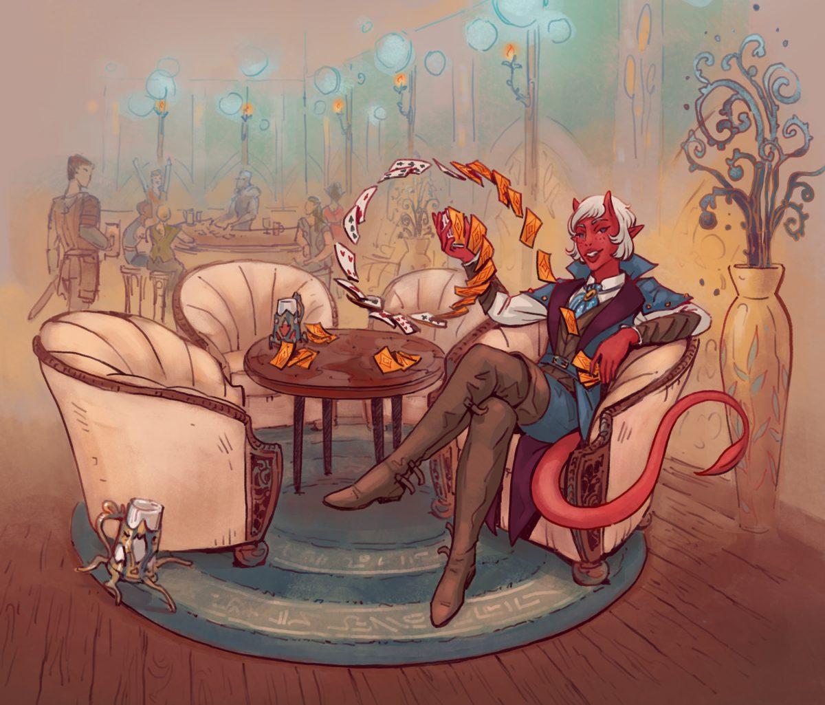 tiefling bard playing cards