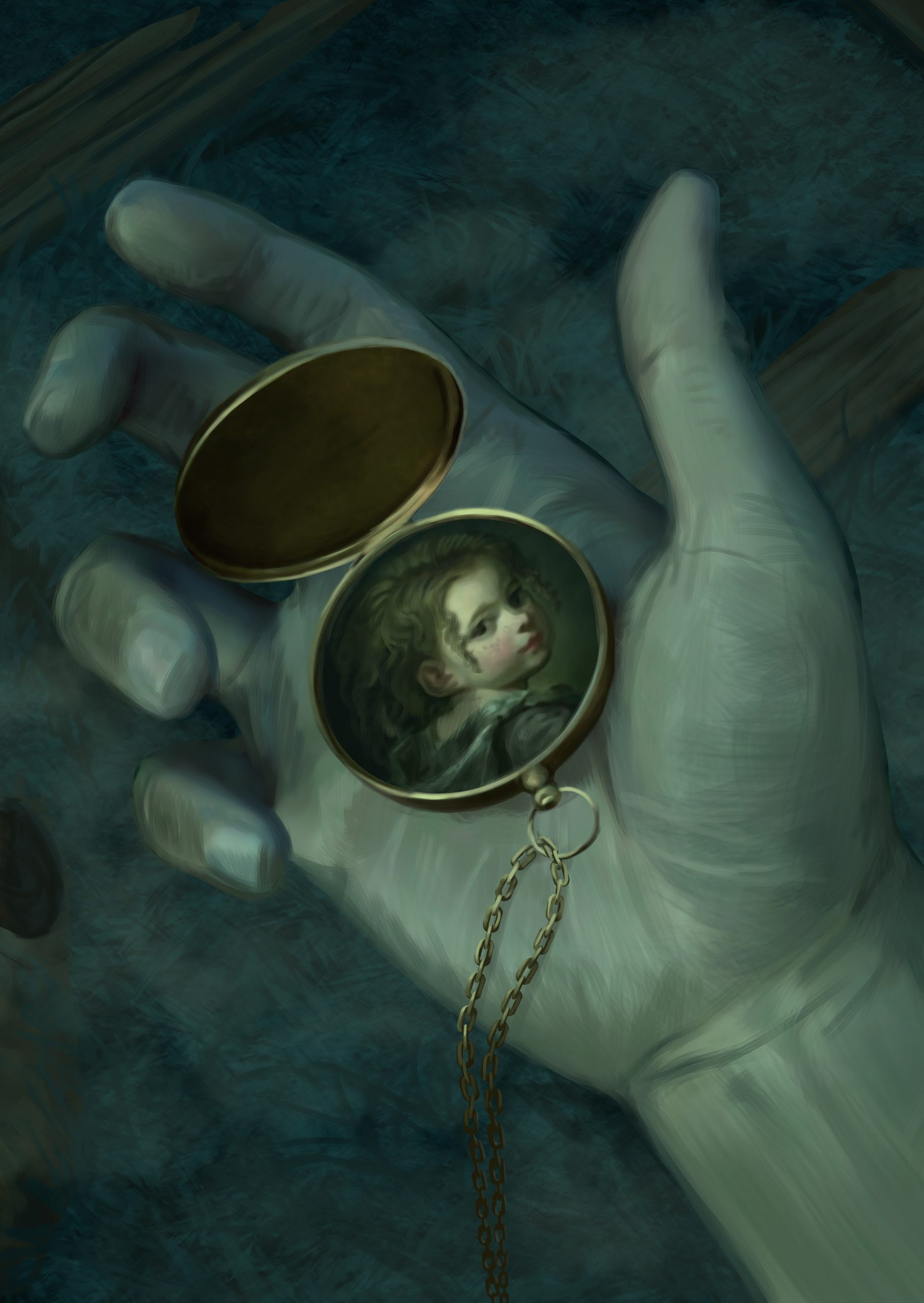Locket with portrait of a young woman