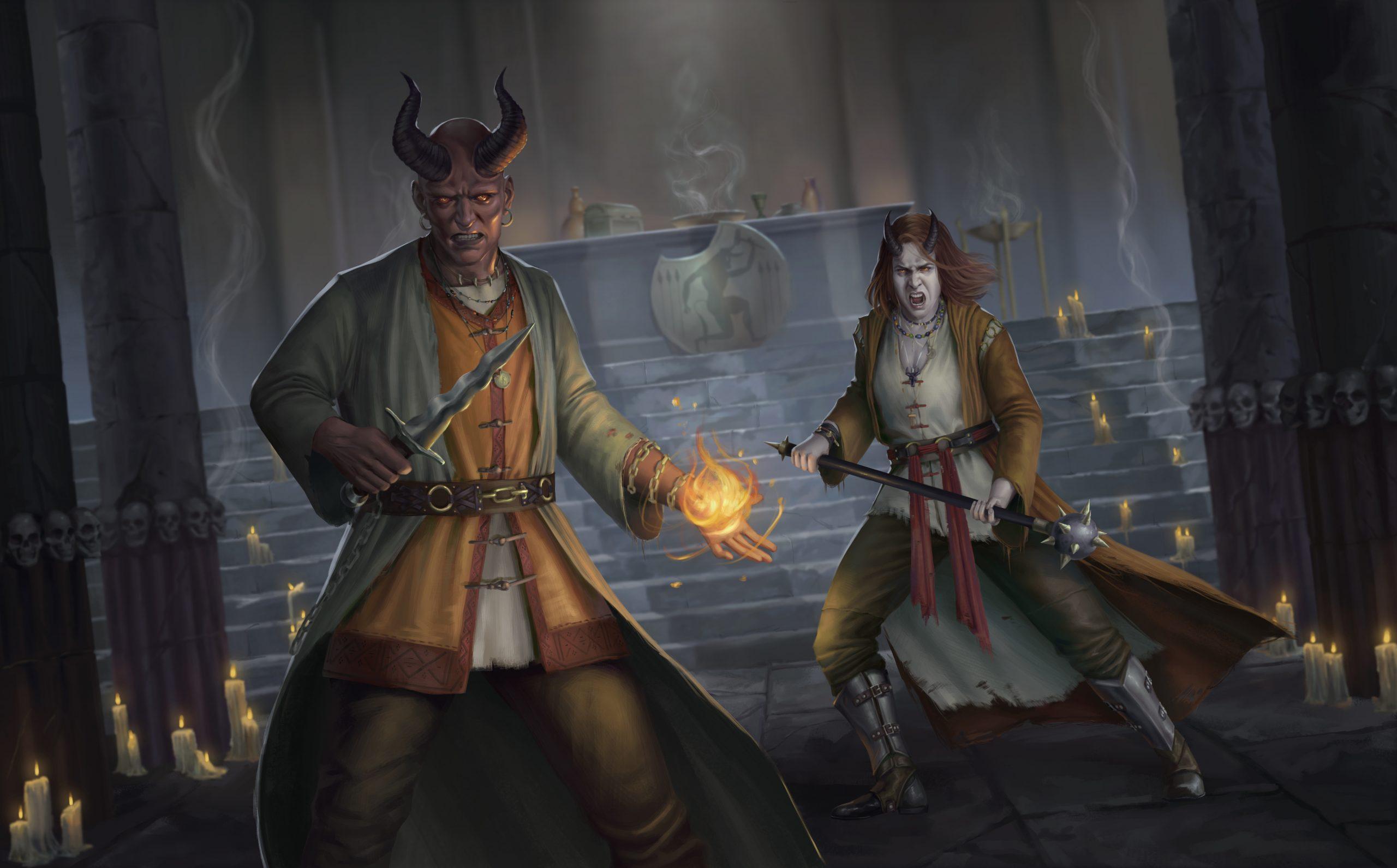 Tiefling Cultists cast magic